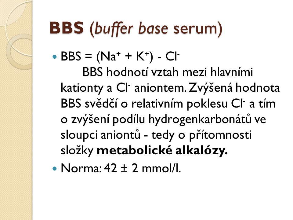 BBS (buffer base serum) BBS = (Na + + K + ) - Cl - BBS hodnotí vztah mezi hlavními kationty a Cl - aniontem. Zvýšená hodnota BBS svědčí o relativním p