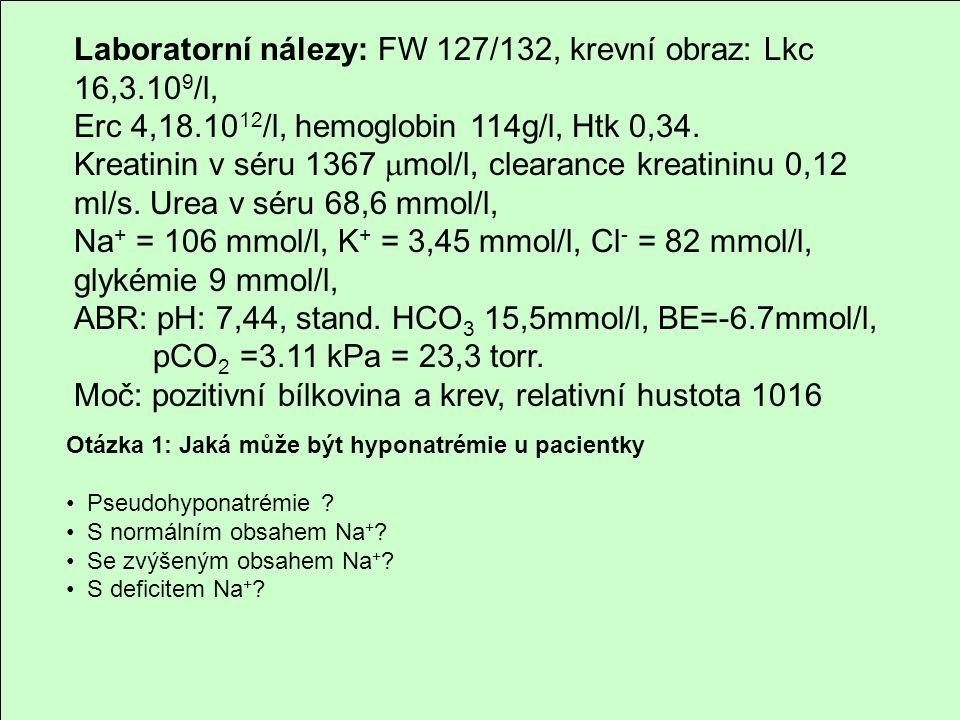 Laboratorní nálezy: FW 127/132, krevní obraz: Lkc 16,3.10 9 /l, Erc 4,18.10 12 /l, hemoglobin 114g/l, Htk 0,34. Kreatinin v séru 1367  mol/l, clearan