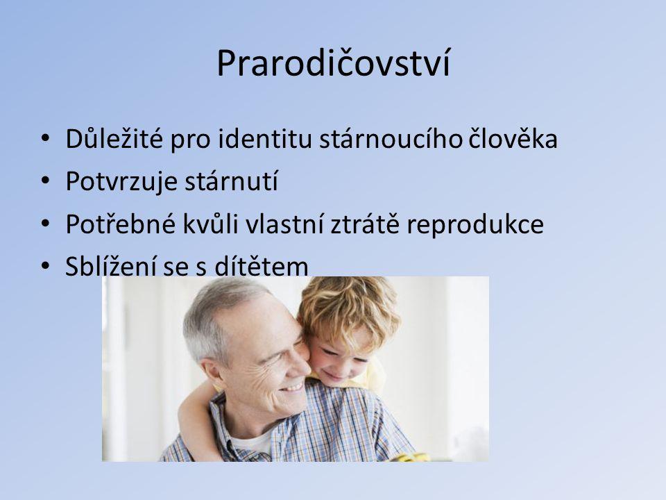 Prarodičovství Důležité pro identitu stárnoucího člověka Potvrzuje stárnutí Potřebné kvůli vlastní ztrátě reprodukce Sblížení se s dítětem