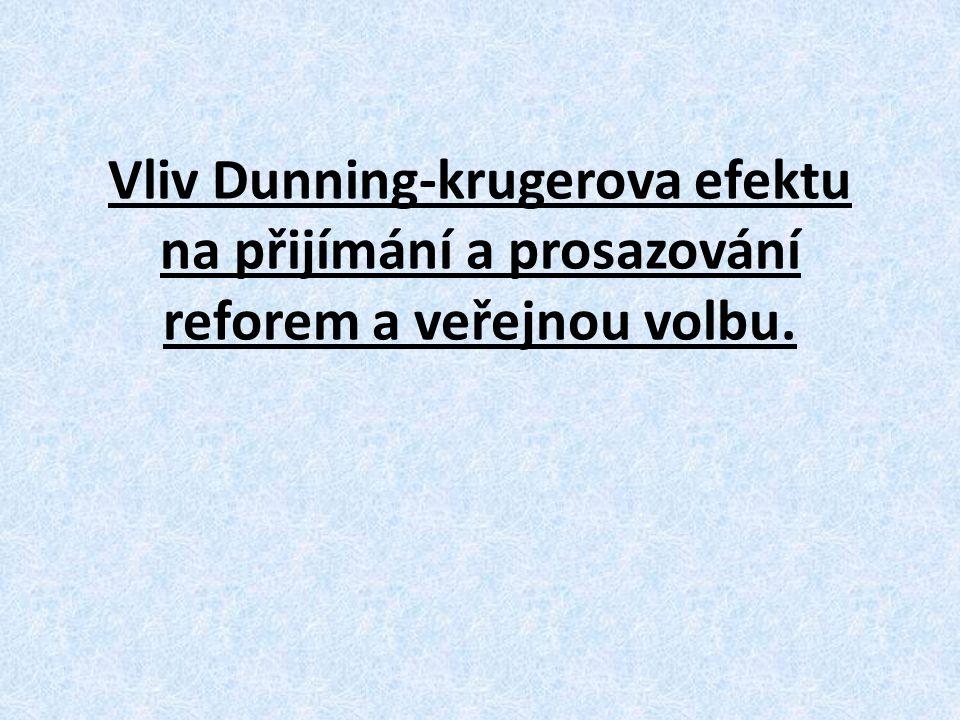 Vliv Dunning-krugerova efektu na přijímání a prosazování reforem a veřejnou volbu.