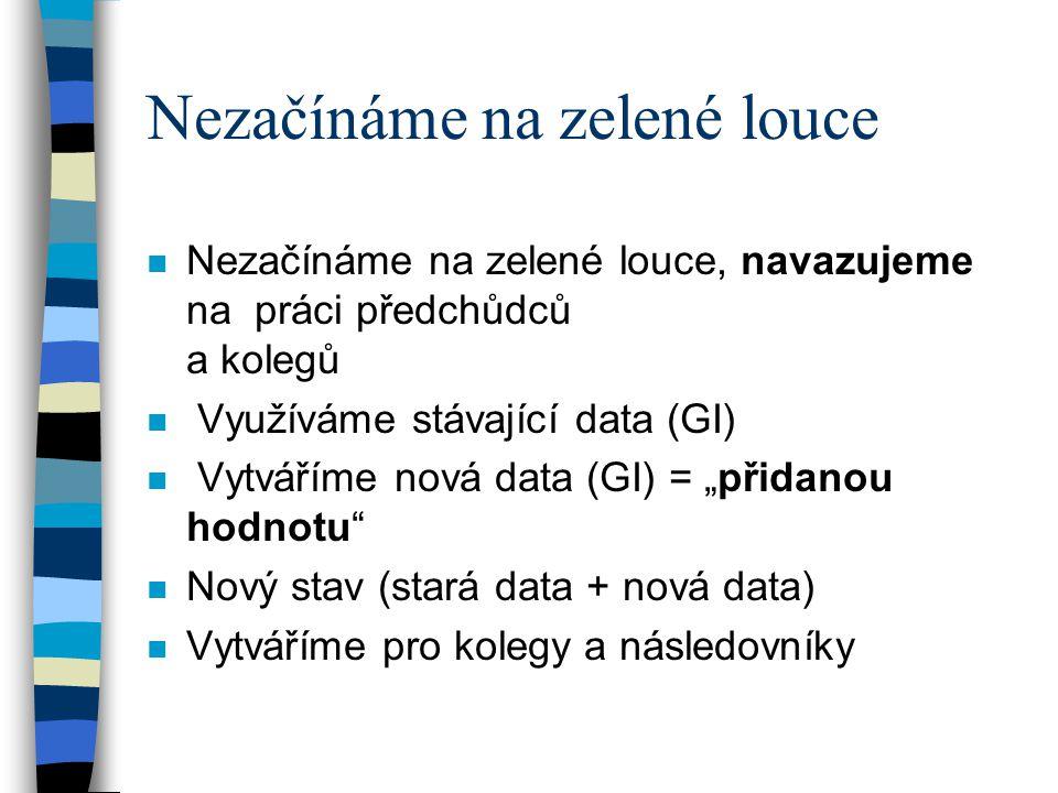 """Nezačínáme na zelené louce n Nezačínáme na zelené louce, navazujeme na práci předchůdců a kolegů n Využíváme stávající data (GI) n Vytváříme nová data (GI) = """"přidanou hodnotu n Nový stav (stará data + nová data) n Vytváříme pro kolegy a následovníky"""