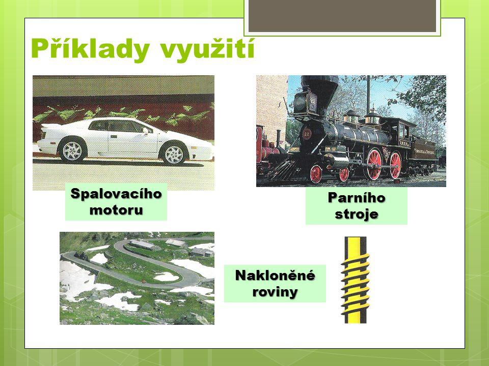 Příklady využití Spalovacího motoru Parního stroje Nakloněné roviny