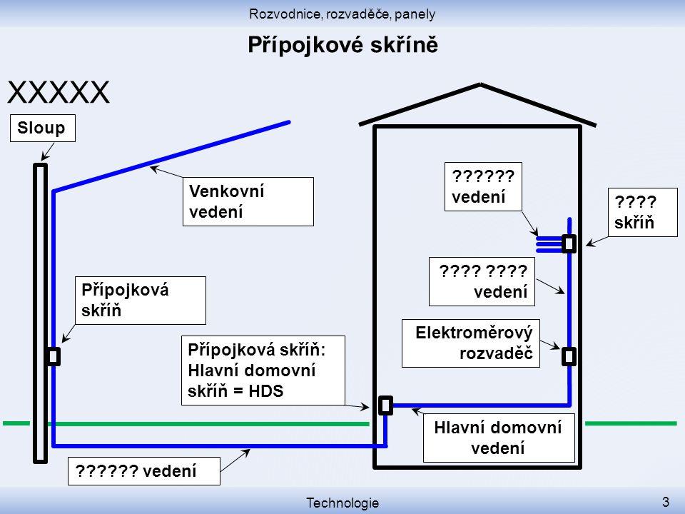 Rozvodnice, rozvaděče, panely Technologie 3 XXXXX Přípojková skříň Přípojková skříň: Hlavní domovní skříň = HDS Venkovní vedení Sloup Elektroměrový ro