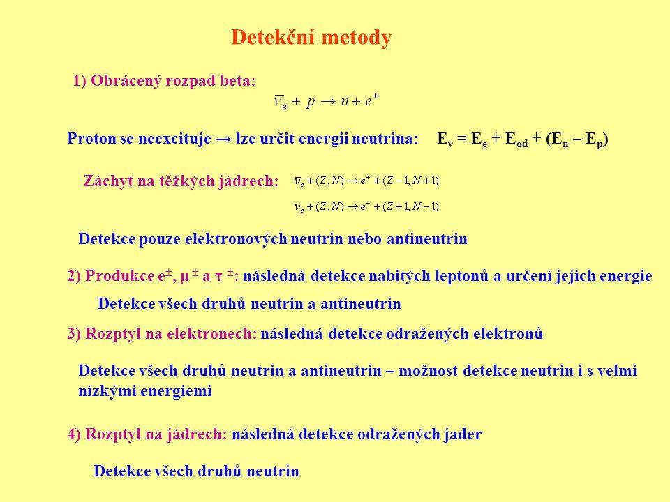 Detekční metody 1) Obrácený rozpad beta: 2) Produkce e , μ  a τ  : následná detekce nabitých leptonů a určení jejich energie 3) Rozptyl na elektronech: následná detekce odražených elektronů 4) Rozptyl na jádrech: následná detekce odražených jader E ν = E e + E od + (E n – E p ) Záchyt na těžkých jádrech: Proton se neexcituje → lze určit energii neutrina: Detekce pouze elektronových neutrin nebo antineutrin Detekce všech druhů neutrin a antineutrin Detekce všech druhů neutrin a antineutrin – možnost detekce neutrin i s velmi nízkými energiemi Detekce všech druhů neutrin