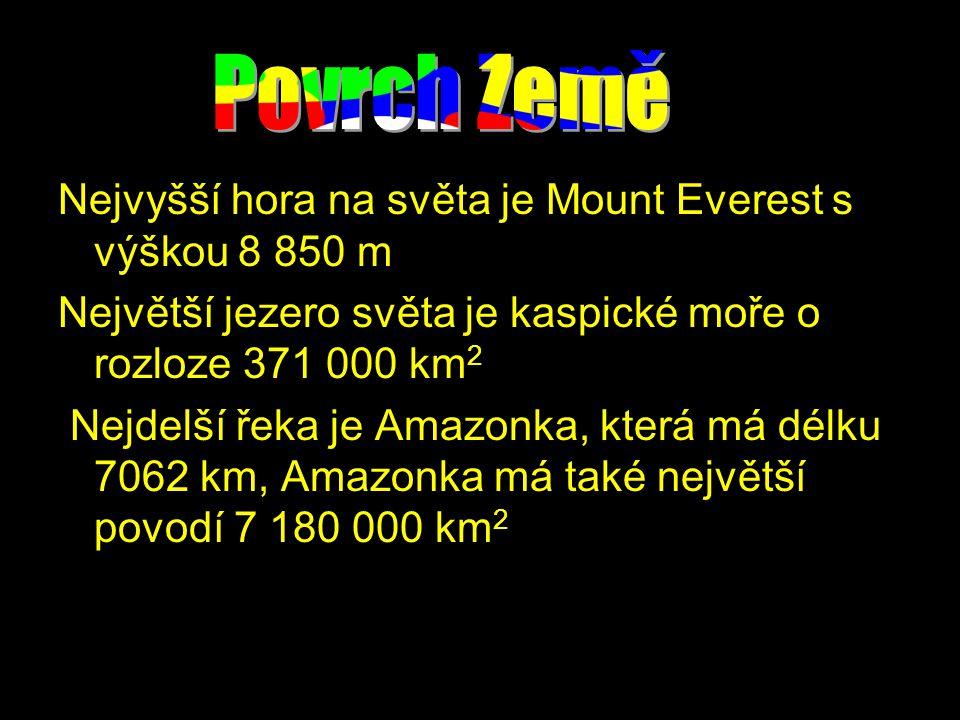 Nejvyšší hora na světa je Mount Everest s výškou 8 850 m Největší jezero světa je kaspické moře o rozloze 371 000 km 2 Nejdelší řeka je Amazonka, která má délku 7062 km, Amazonka má také největší povodí 7 180 000 km 2