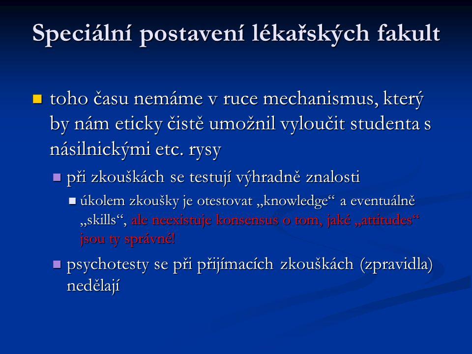 Speciální postavení lékařských fakult toho času nemáme v ruce mechanismus, který by nám eticky čistě umožnil vyloučit studenta s násilnickými etc. rys