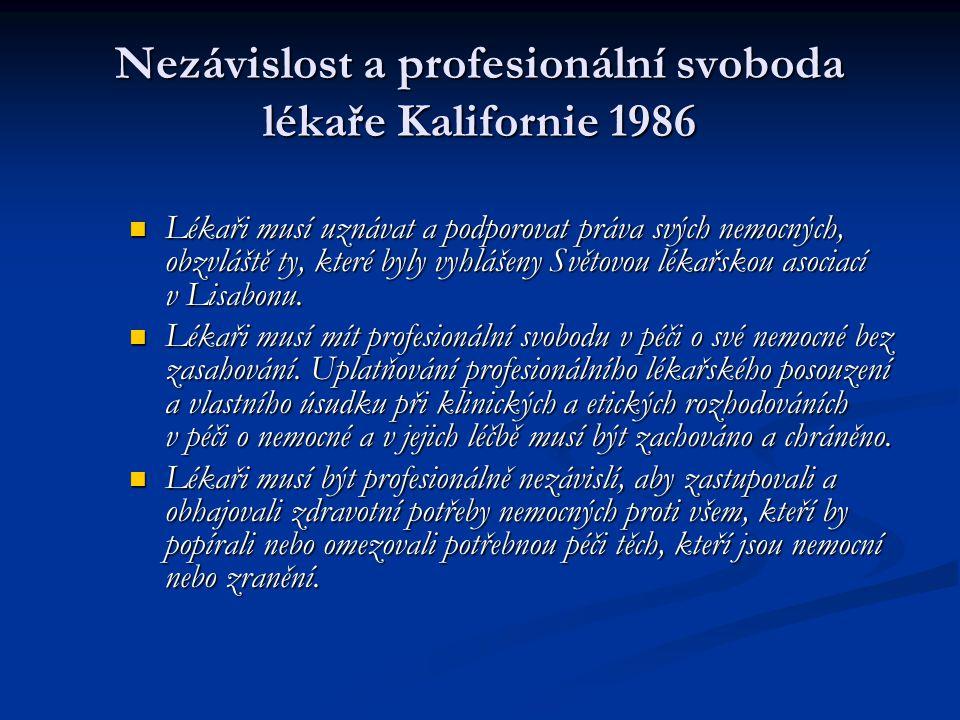 Nezávislost a profesionální svoboda lékaře Kalifornie 1986 Lékaři musí uznávat a podporovat práva svých nemocných, obzvláště ty, které byly vyhlášeny