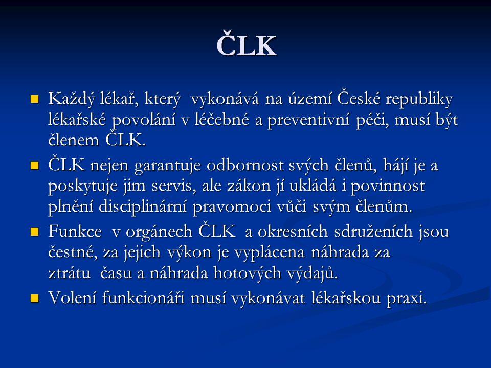 ČLK Každý lékař, který vykonává na území České republiky lékařské povolání v léčebné a preventivní péči, musí být členem ČLK. Každý lékař, který vykon