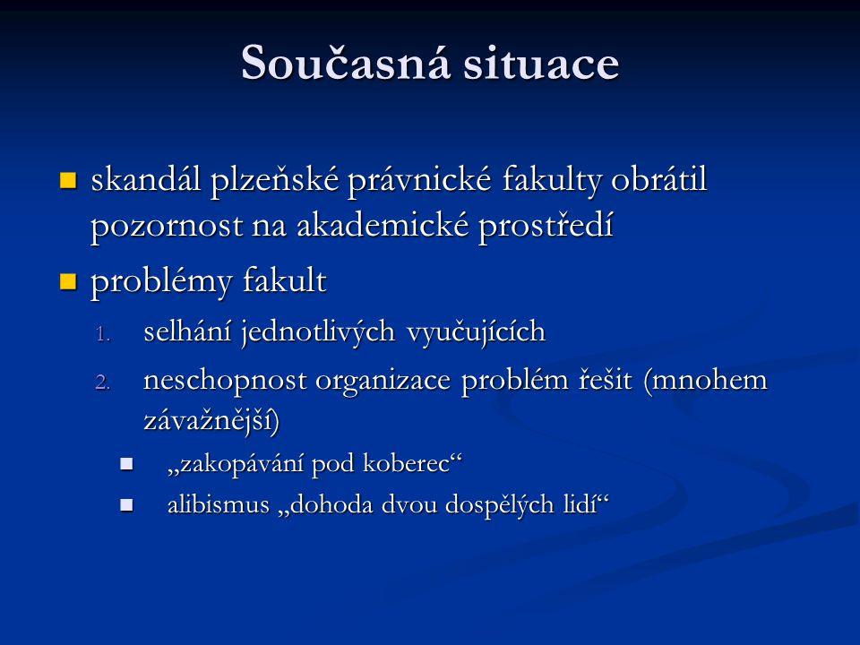 Současná situace skandál plzeňské právnické fakulty obrátil pozornost na akademické prostředí skandál plzeňské právnické fakulty obrátil pozornost na