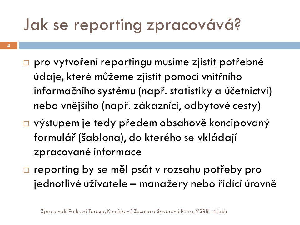 Jak se reporting zpracovává? Zpracovali: Fatková Tereza, Komínková Zuzana a Severová Petra, VSRR - 4.kruh 4  pro vytvoření reportingu musíme zjistit