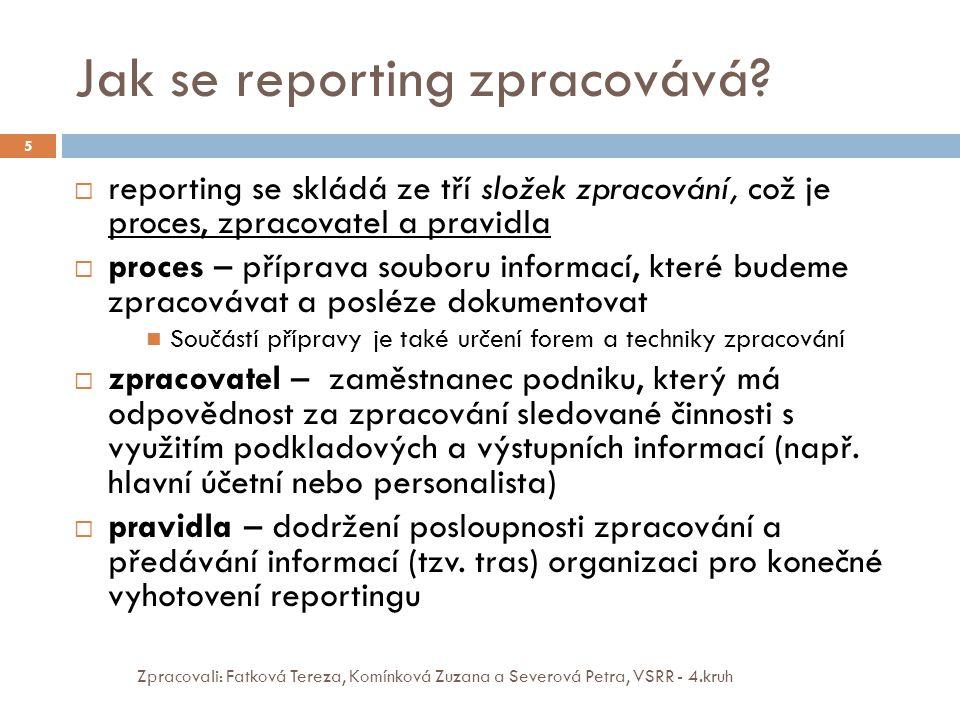 Jak se reporting zpracovává? Zpracovali: Fatková Tereza, Komínková Zuzana a Severová Petra, VSRR - 4.kruh 5  reporting se skládá ze tří složek zpraco