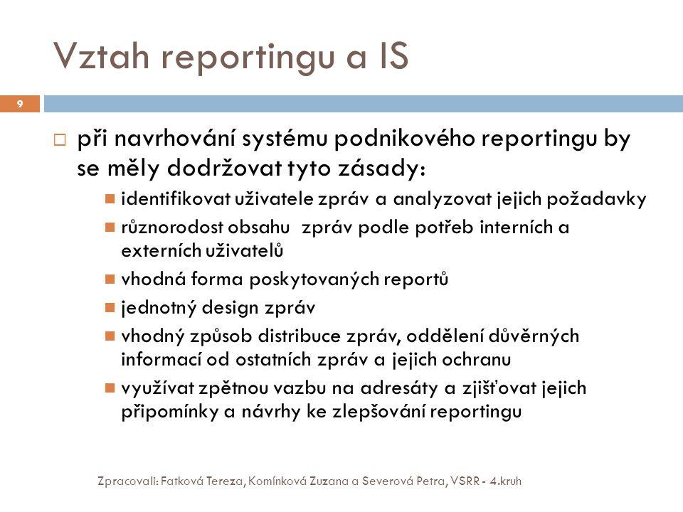 Vztah reportingu a IS Zpracovali: Fatková Tereza, Komínková Zuzana a Severová Petra, VSRR - 4.kruh 9  při navrhování systému podnikového reportingu b
