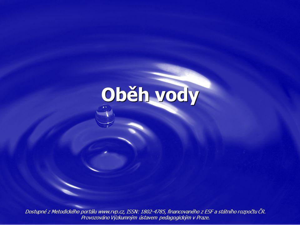 Oběh vody Dostupné z Metodického portálu www.rvp.cz, ISSN: 1802-4785, financovaného z ESF a státního rozpočtu ČR. Provozováno Výzkumným ústavem pedago