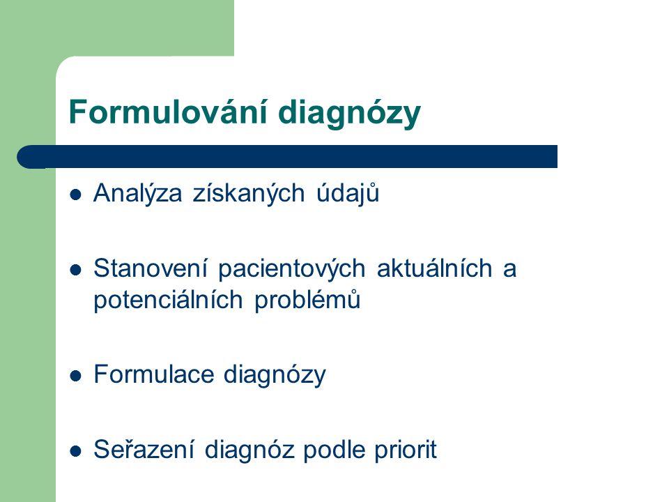 Formulování diagnózy Analýza získaných údajů Stanovení pacientových aktuálních a potenciálních problémů Formulace diagnózy Seřazení diagnóz podle priorit