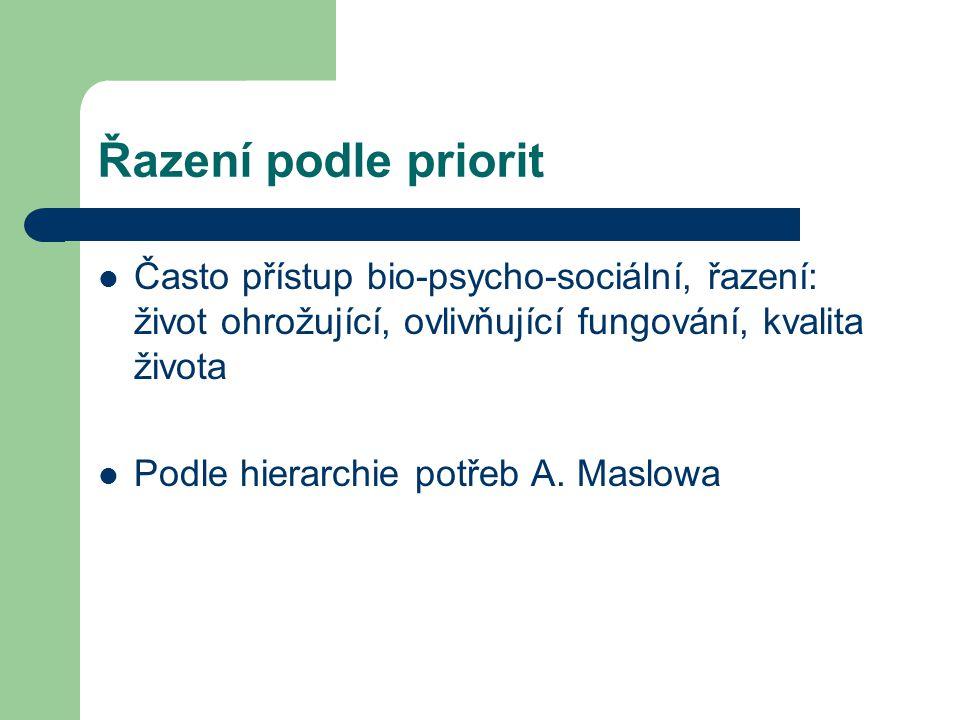 Řazení podle priorit Často přístup bio-psycho-sociální, řazení: život ohrožující, ovlivňující fungování, kvalita života Podle hierarchie potřeb A.