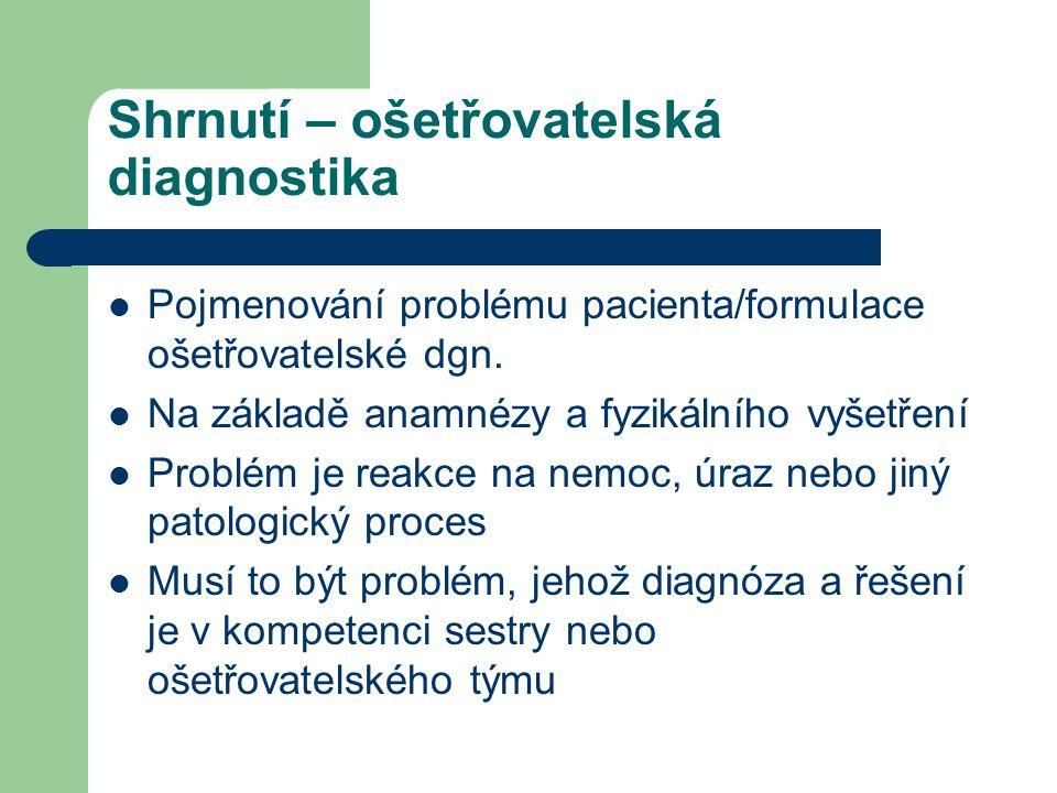Shrnutí – ošetřovatelská diagnostika Pojmenování problému pacienta/formulace ošetřovatelské dgn.