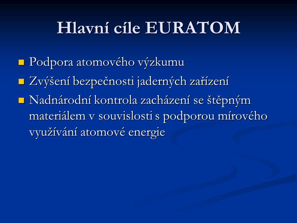Hlavní cíle EURATOM Podpora atomového výzkumu Podpora atomového výzkumu Zvýšení bezpečnosti jaderných zařízení Zvýšení bezpečnosti jaderných zařízení