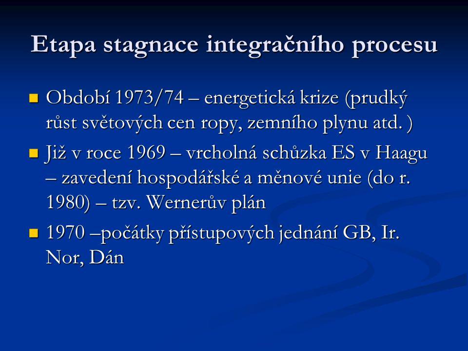 Etapa stagnace integračního procesu Období 1973/74 – energetická krize (prudký růst světových cen ropy, zemního plynu atd. ) Období 1973/74 – energeti