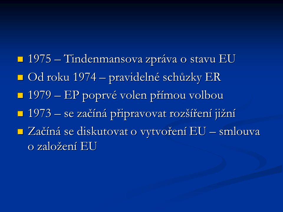 1975 – Tindenmansova zpráva o stavu EU 1975 – Tindenmansova zpráva o stavu EU Od roku 1974 – pravidelné schůzky ER Od roku 1974 – pravidelné schůzky E