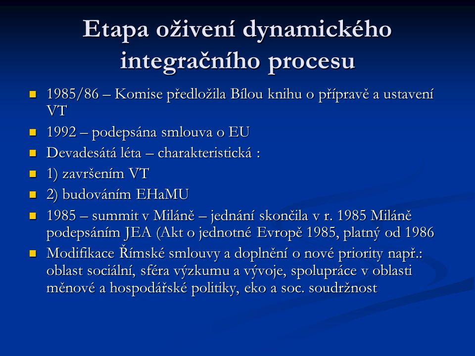 Etapa oživení dynamického integračního procesu 1985/86 – Komise předložila Bílou knihu o přípravě a ustavení VT 1985/86 – Komise předložila Bílou knih