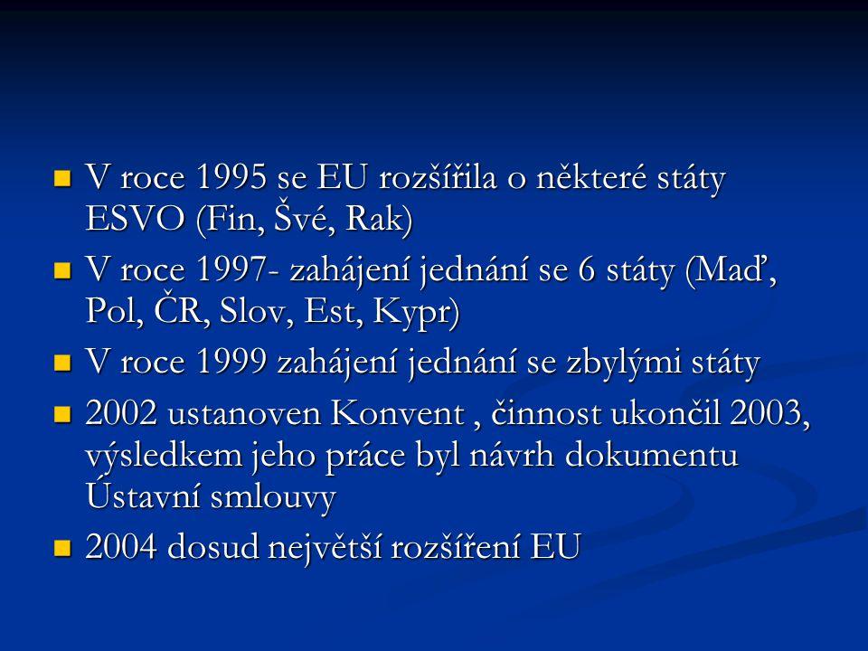 V roce 1995 se EU rozšířila o některé státy ESVO (Fin, Švé, Rak) V roce 1995 se EU rozšířila o některé státy ESVO (Fin, Švé, Rak) V roce 1997- zahájen