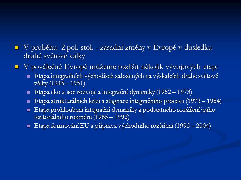 V průběhu 2.pol. stol. - zásadní změny v Evropě v důsledku druhé světové války V průběhu 2.pol. stol. - zásadní změny v Evropě v důsledku druhé světov
