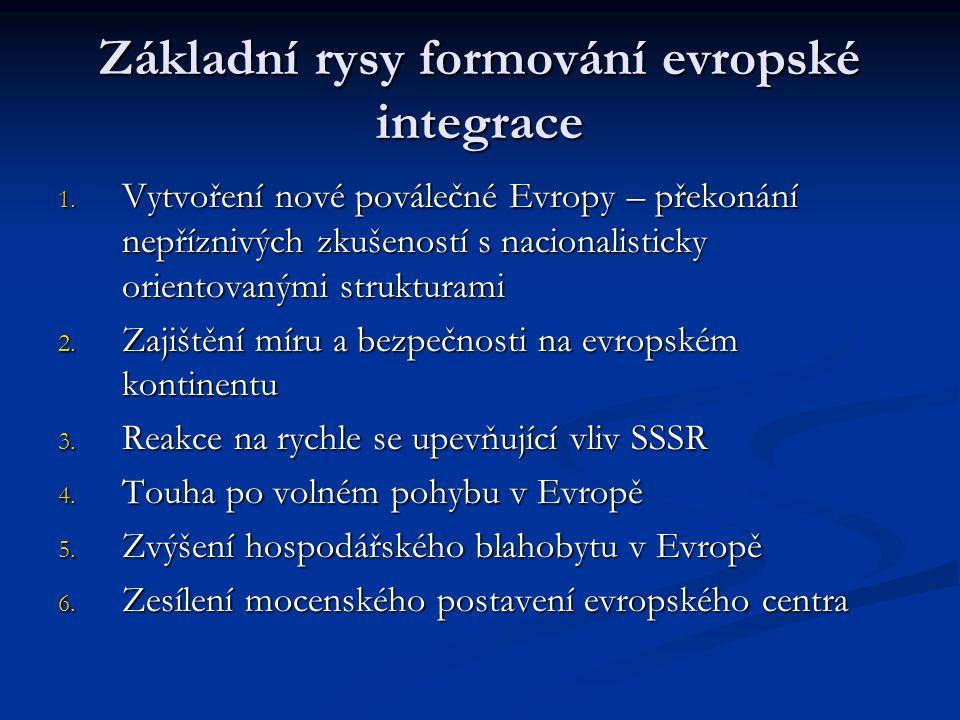 Základní rysy formování evropské integrace 1. Vytvoření nové poválečné Evropy – překonání nepříznivých zkušeností s nacionalisticky orientovanými stru