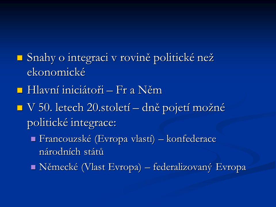 Snahy o integraci v rovině politické než ekonomické Snahy o integraci v rovině politické než ekonomické Hlavní iniciátoři – Fr a Něm Hlavní iniciátoři