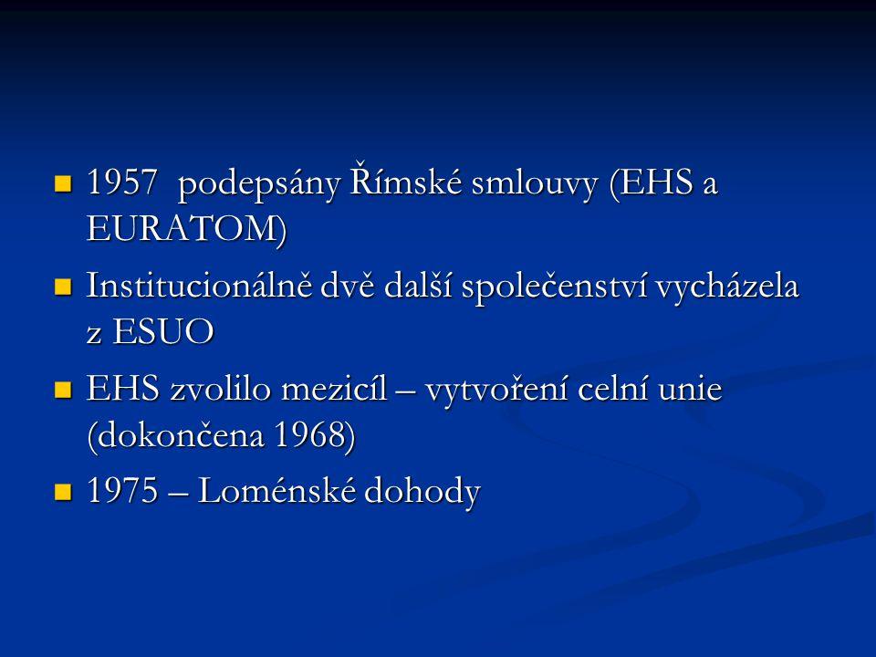 1957 podepsány Římské smlouvy (EHS a EURATOM) 1957 podepsány Římské smlouvy (EHS a EURATOM) Institucionálně dvě další společenství vycházela z ESUO In