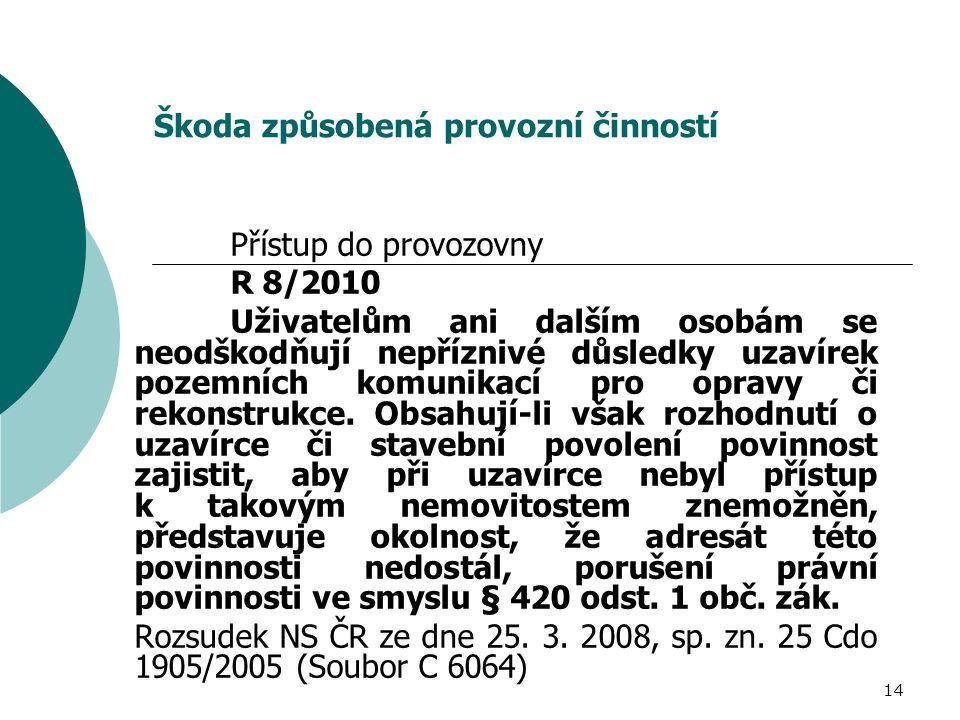 14 Škoda způsobená provozní činností Přístup do provozovny R 8/2010 Uživatelům ani dalším osobám se neodškodňují nepříznivé důsledky uzavírek pozemníc