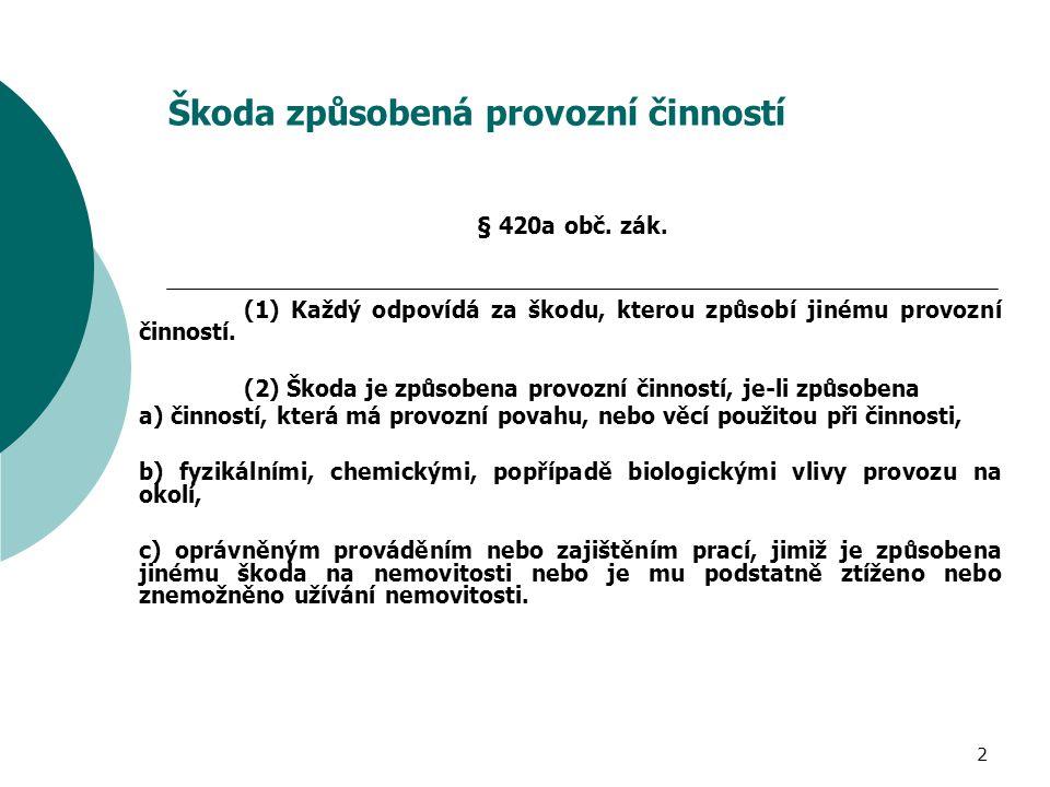 2 Škoda způsobená provozní činností § 420a obč. zák. (1) Každý odpovídá za škodu, kterou způsobí jinému provozní činností. (2) Škoda je způsobena prov