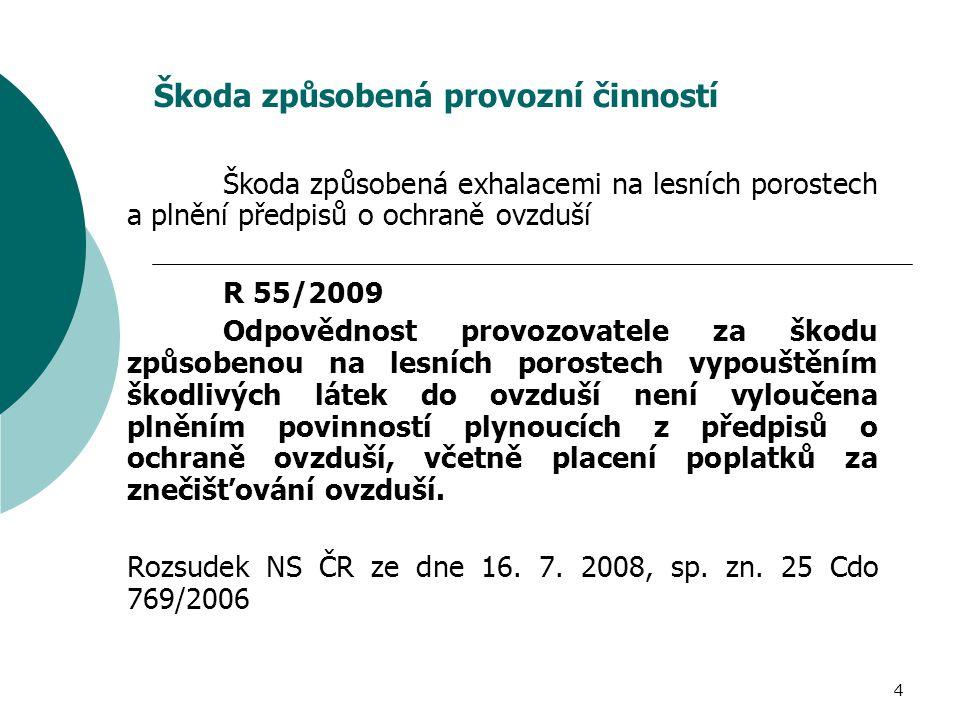4 Škoda způsobená provozní činností Škoda způsobená exhalacemi na lesních porostech a plnění předpisů o ochraně ovzduší R 55/2009 Odpovědnost provozov