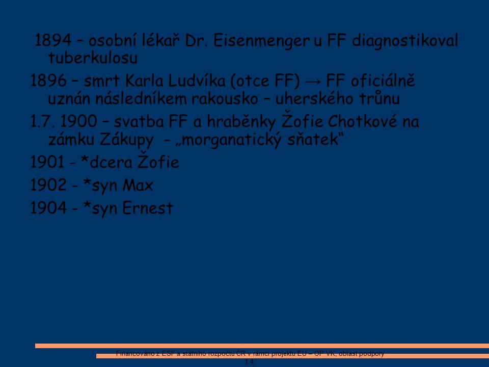 1894 – osobní lékař Dr. Eisenmenger u FF diagnostikoval tuberkulosu 1896 – smrt Karla Ludvíka (otce FF) → FF oficiálně uznán následníkem rakousko – uh