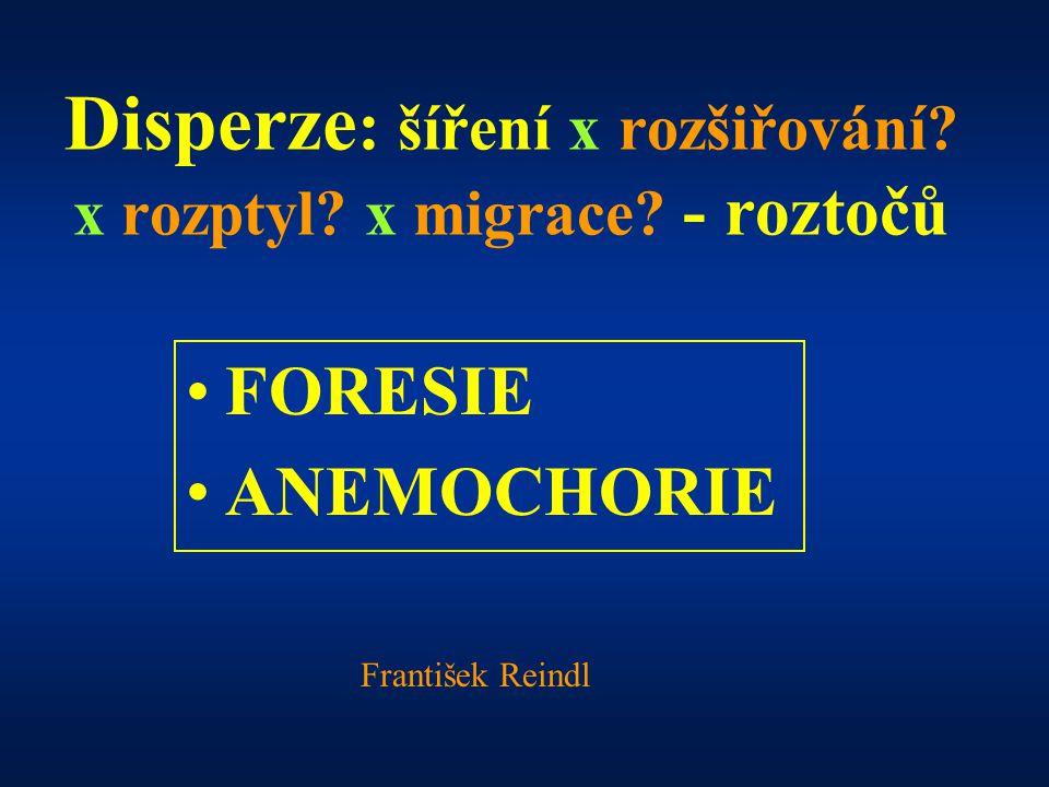 Disperze : šíření x rozšiřování? x rozptyl? x migrace? - roztočů FORESIE ANEMOCHORIE František Reindl