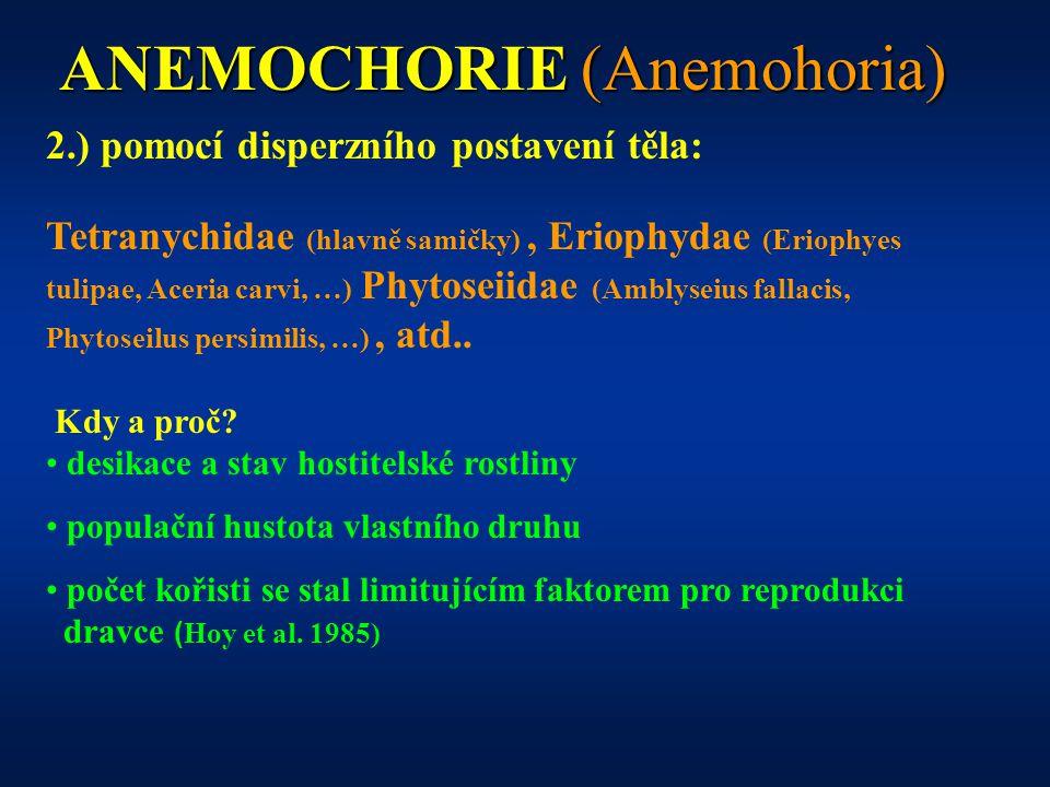 ANEMOCHORIE (Anemohoria) 2.) pomocí disperzního postavení těla: Tetranychidae (hlavně samičky), Eriophydae (Eriophyes tulipae, Aceria carvi, …) Phytoseiidae (Amblyseius fallacis, Phytoseilus persimilis, …), atd..