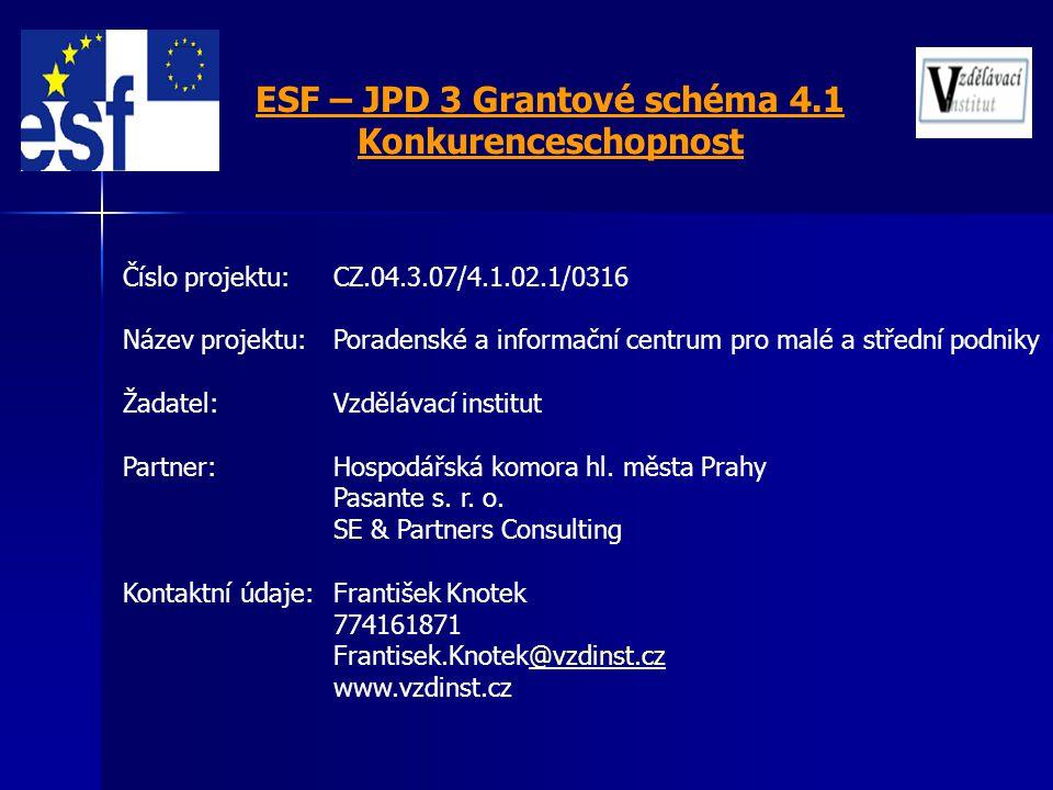 Číslo projektu: CZ.04.3.07/4.1.02.1/0316 Název projektu: Poradenské a informační centrum pro malé a střední podniky Žadatel: Vzdělávací institut Partn