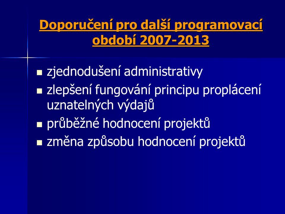 Doporučení pro další programovací období 2007-2013 zjednodušení administrativy zlepšení fungování principu proplácení uznatelných výdajů průběžné hodn