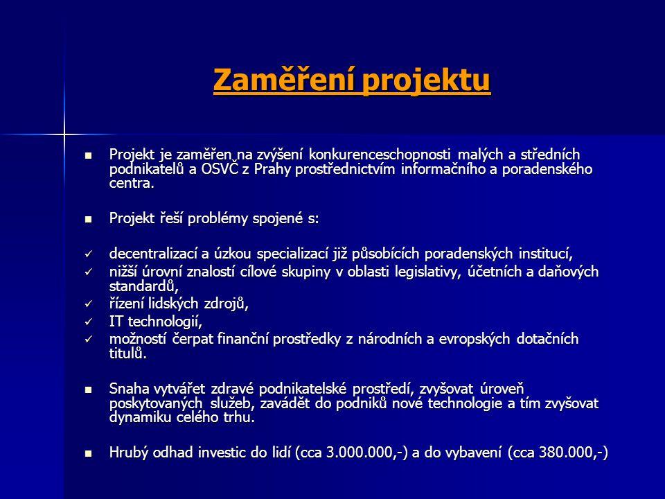 Zaměření projektu Projekt je zaměřen na zvýšení konkurenceschopnosti malých a středních podnikatelů a OSVČ z Prahy prostřednictvím informačního a pora