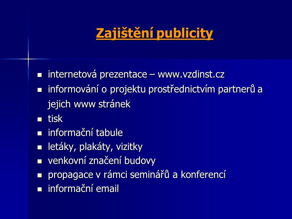 Zajištění publicity internetová prezentace – www.vzdinst.cz internetová prezentace – www.vzdinst.cz informování o projektu prostřednictvím partnerů a