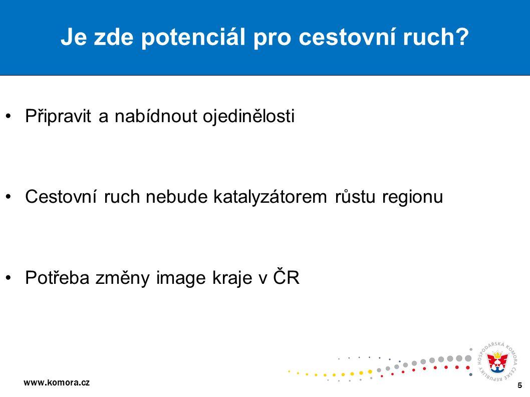 www.komora.cz 5 Připravit a nabídnout ojedinělosti Cestovní ruch nebude katalyzátorem růstu regionu Potřeba změny image kraje v ČR Je zde potenciál pr