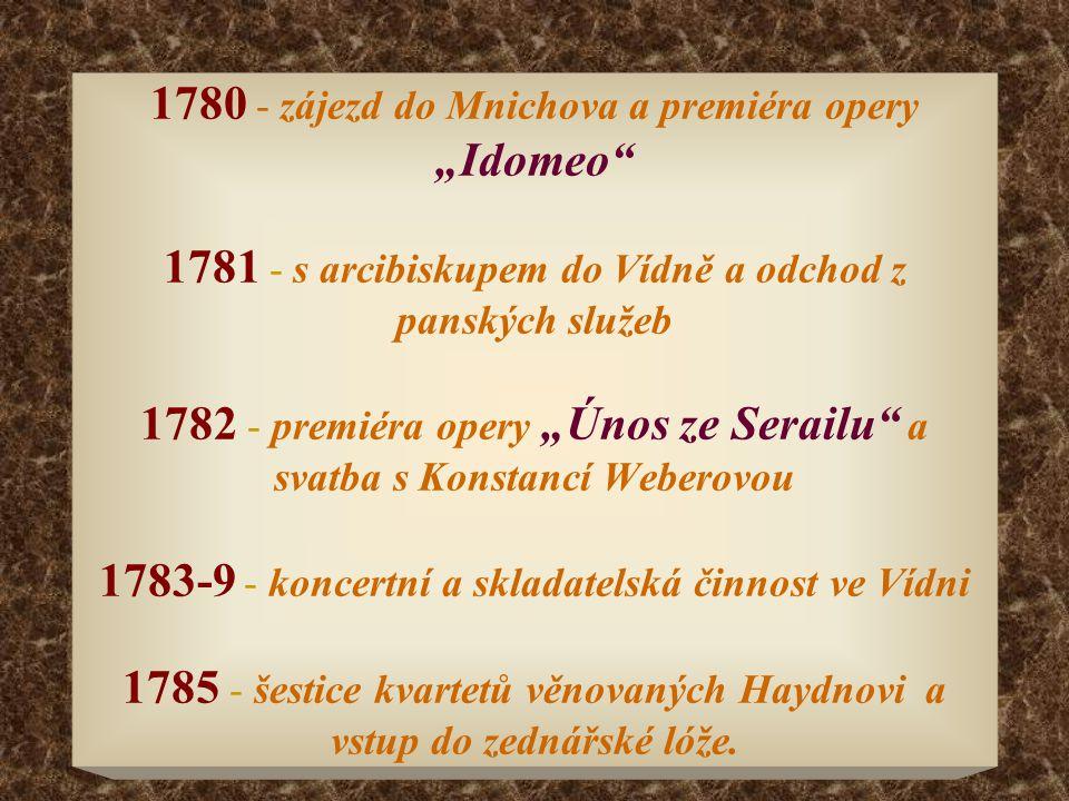 """1780 - zájezd do Mnichova a premiéra opery """"Idomeo"""" 1781 - s arcibiskupem do Vídně a odchod z panských služeb 1782 - premiéra opery """"Únos ze Serailu"""""""