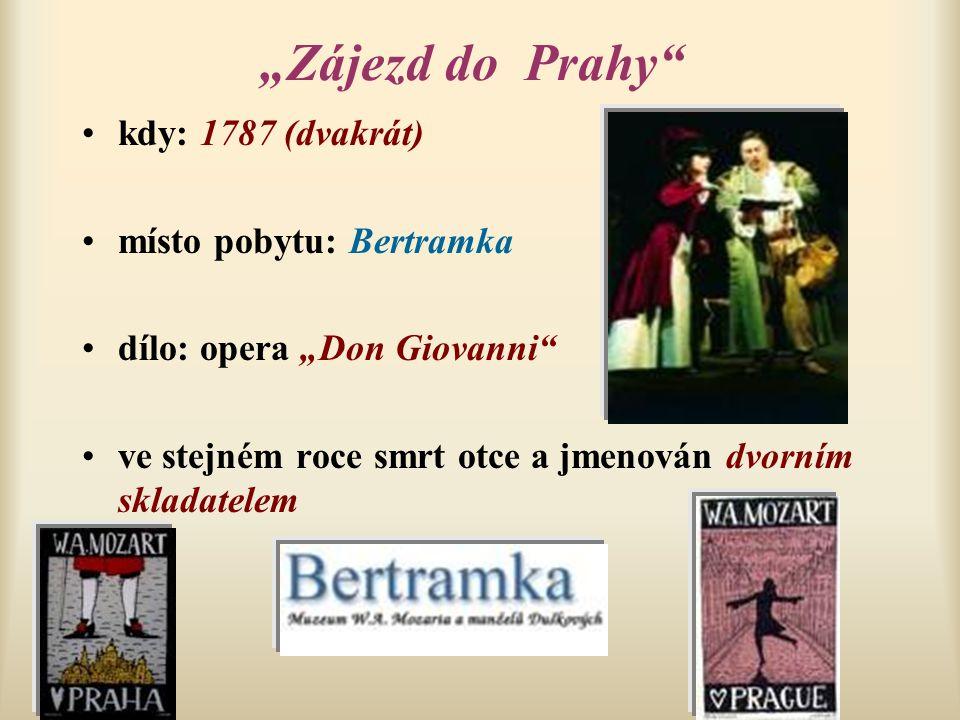 """""""Zájezd do Prahy"""" kdy: 1787 (dvakrát) místo pobytu: Bertramka dílo: opera """"Don Giovanni"""" ve stejném roce smrt otce a jmenován dvorním skladatelem"""
