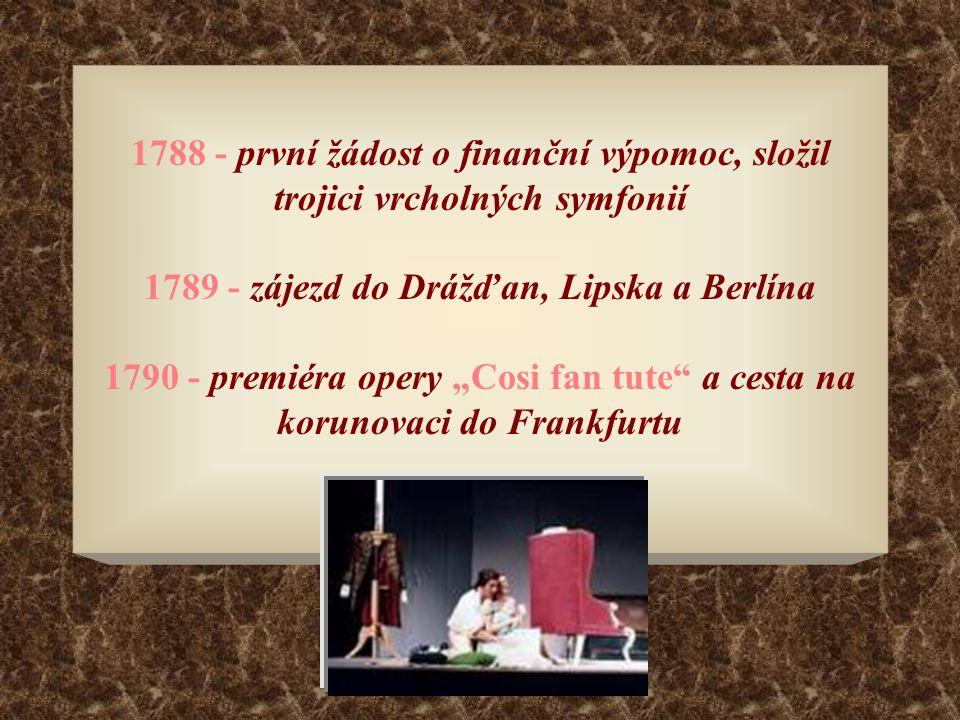 """1788 - první žádost o finanční výpomoc, složil trojici vrcholných symfonií 1789 - zájezd do Drážďan, Lipska a Berlína 1790 - premiéra opery """"Cosi fan"""
