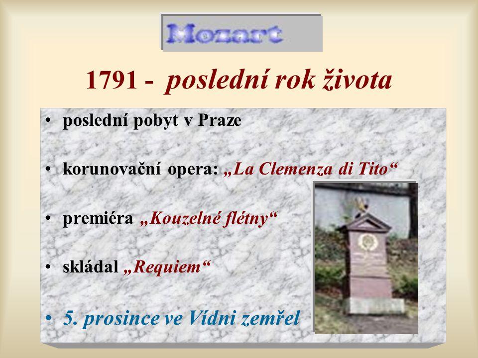"""1791 - poslední rok života poslední pobyt v Praze korunovační opera: """"La Clemenza di Tito"""" premiéra """"Kouzelné flétny"""" skládal """"Requiem"""" 5. prosince ve"""