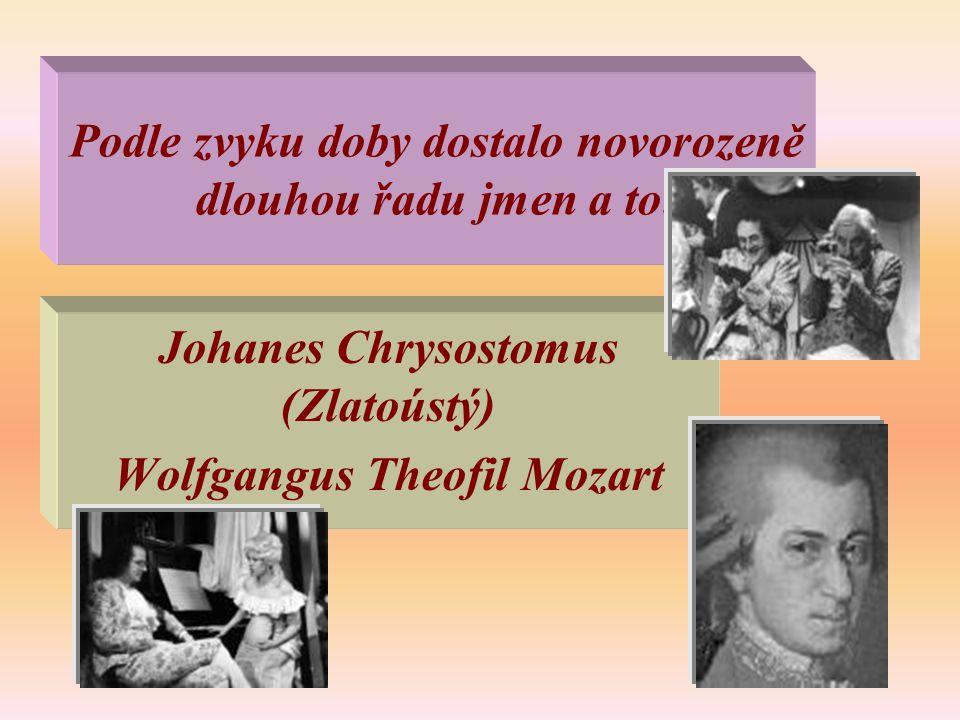 Podle zvyku doby dostalo novorozeně dlouhou řadu jmen a to: Johanes Chrysostomus (Zlatoústý) Wolfgangus Theofil Mozart