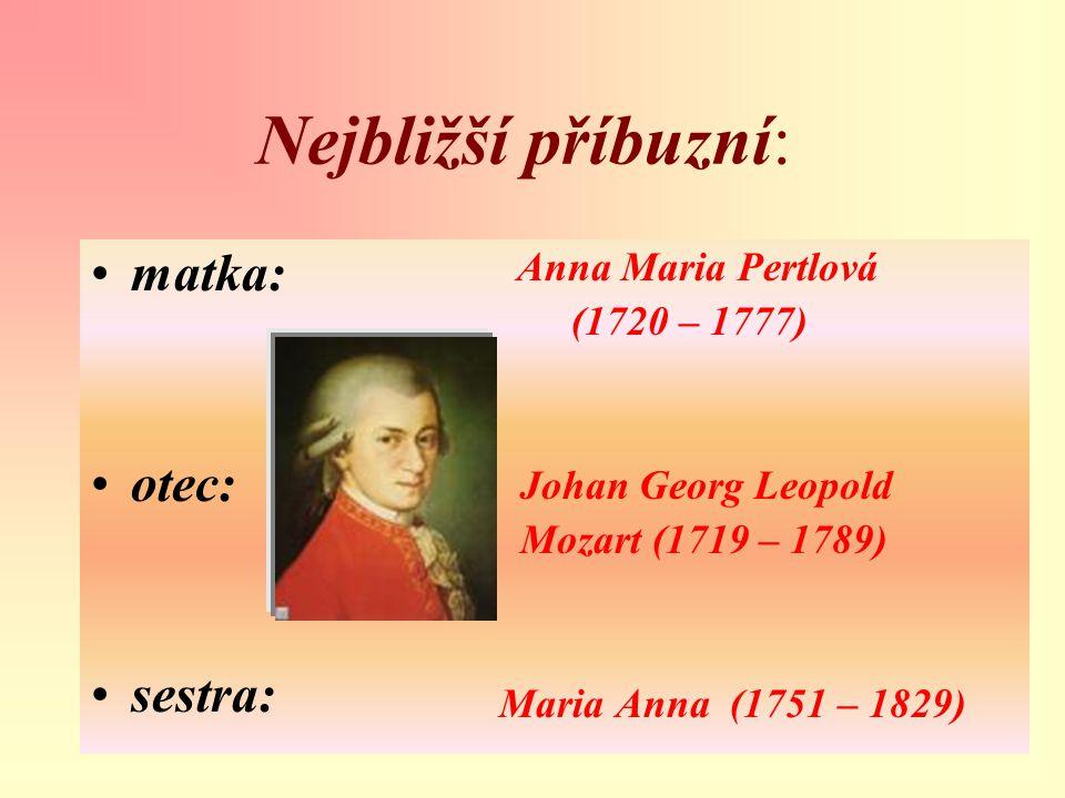 Nejbližší příbuzní: matka: otec: sestra: Anna Maria Pertlová (1720 – 1777) Johan Georg Leopold Mozart (1719 – 1789) Maria Anna (1751 – 1829)