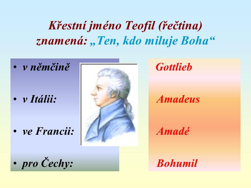 """Křestní jméno Teofil (řečtina) znamená: """"Ten, kdo miluje Boha"""" v němčině v Itálii: ve Francii: pro Čechy: Gottlieb Amadeus Amadé Bohumil"""