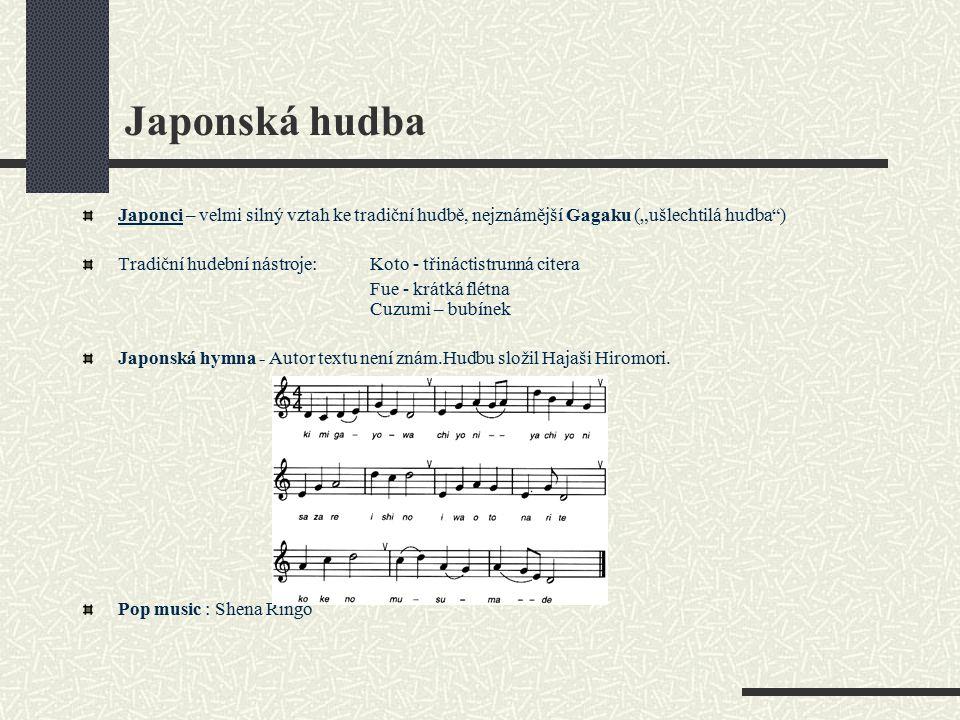 """Japonská hudba Japonci – velmi silný vztah ke tradiční hudbě, nejznámější Gagaku (""""ušlechtilá hudba"""") Tradiční hudební nástroje: Koto - třináctistrunn"""