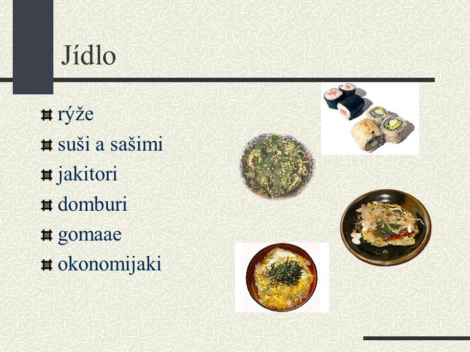 Jídlo rýže suši a sašimi jakitori domburi gomaae okonomijaki