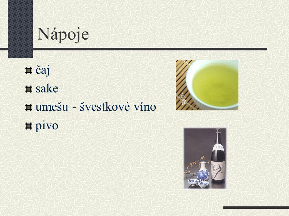 Nápoje čaj sake umešu - švestkové víno pivo